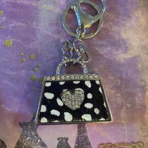 Black Spotted with Clear Stones Purse Keychain